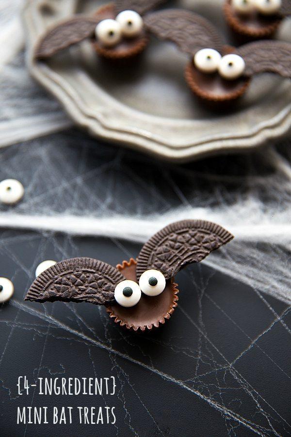 Cute Halloween Party Food Ideas: 4-Ingredient Mini Bat Treats