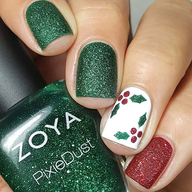 Glitter green, red and white mistletoe nails - holiday nails