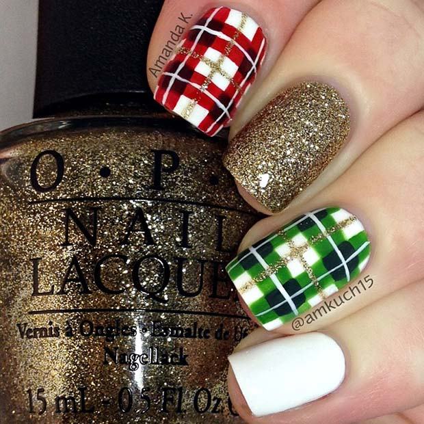 Plaid nails with green, red, white and gold glitter - holiday nails
