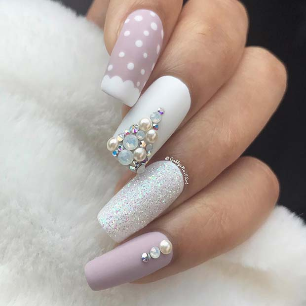 Pastel pink and white Christmas nails acrylic with nail art