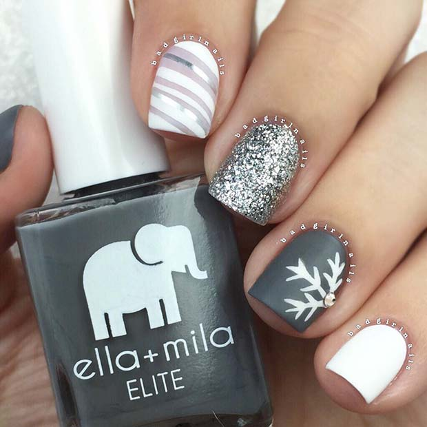 Silver, white and gray Christmas nails with snowflakes
