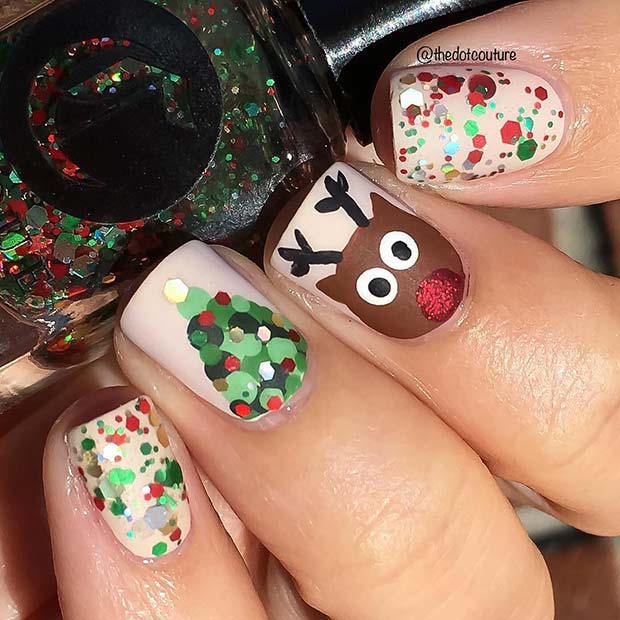 Cute Christmas nail designs with Rudolph, Christmas tree and sparkle