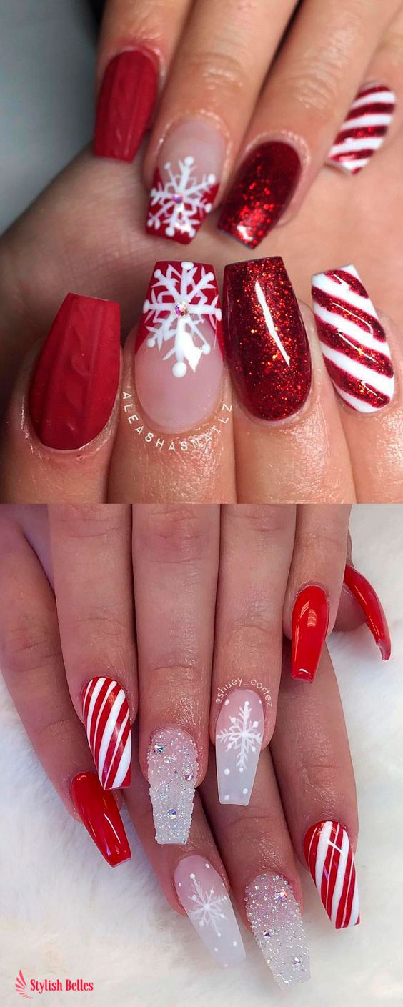 Red and white cute Christmas nailswith candy cane stripes