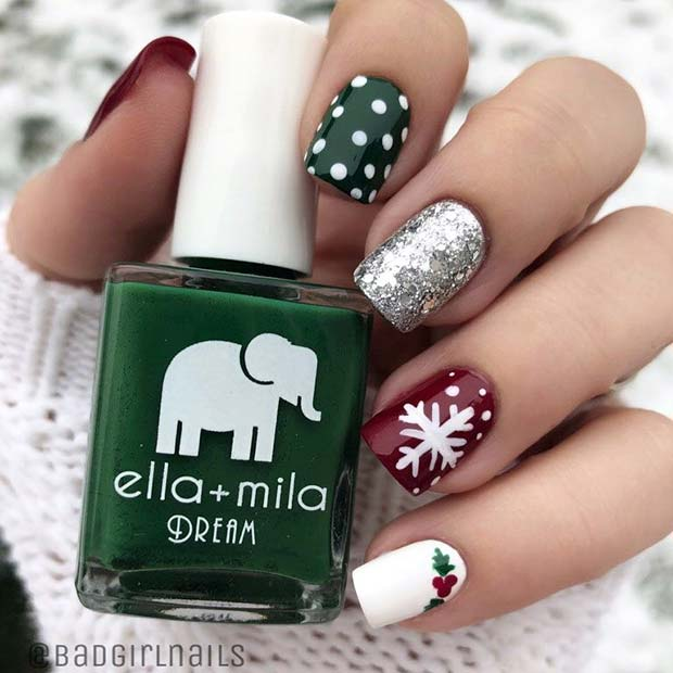 Cute Christmas nails with snowflakes, polka dots, green, red and silver