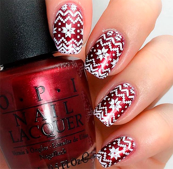 White and red Christmas nail art with snowflake nails