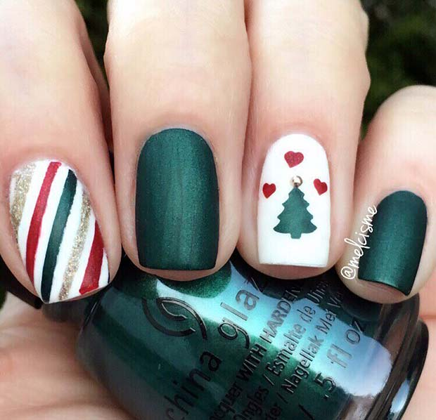Cute white and green Christmas nail designs with Christmas tree nails