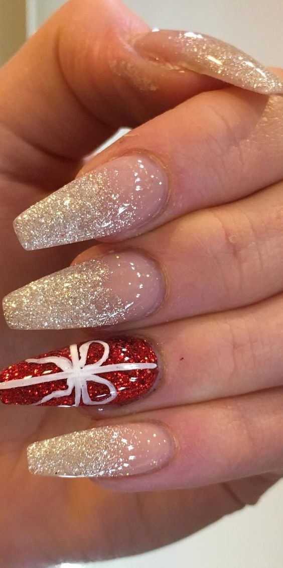 White glitter Christmas nails with red on coffin acrylic nails