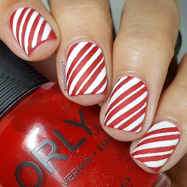 Short candy cane nails with red and white