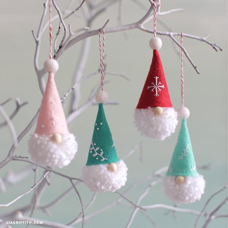 Easy DIY Pom Pom Gnome Christmas Ornaments