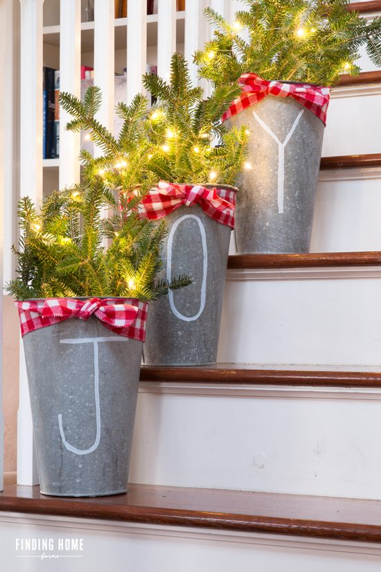 Rustic Galvanized Christmas Buckets With JOY Letters