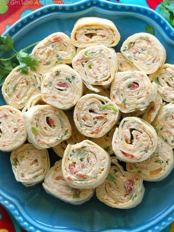 Chicken enchilada pinwheel appetizers and roll ups
