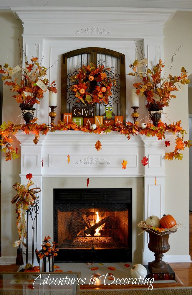 Rustic fireplace decor for Thanksgiving