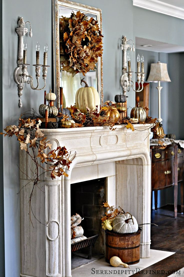 DIY rustic Thanksgiving decorations for the fireplace
