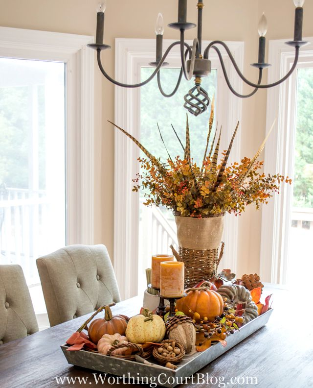 Rustic Thanksgiving table centerpiece