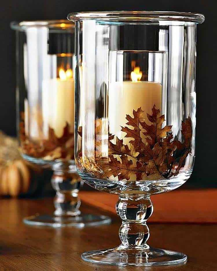 DIY Thanksgiving decorations: rustic hurricane glass centerpiece with candles