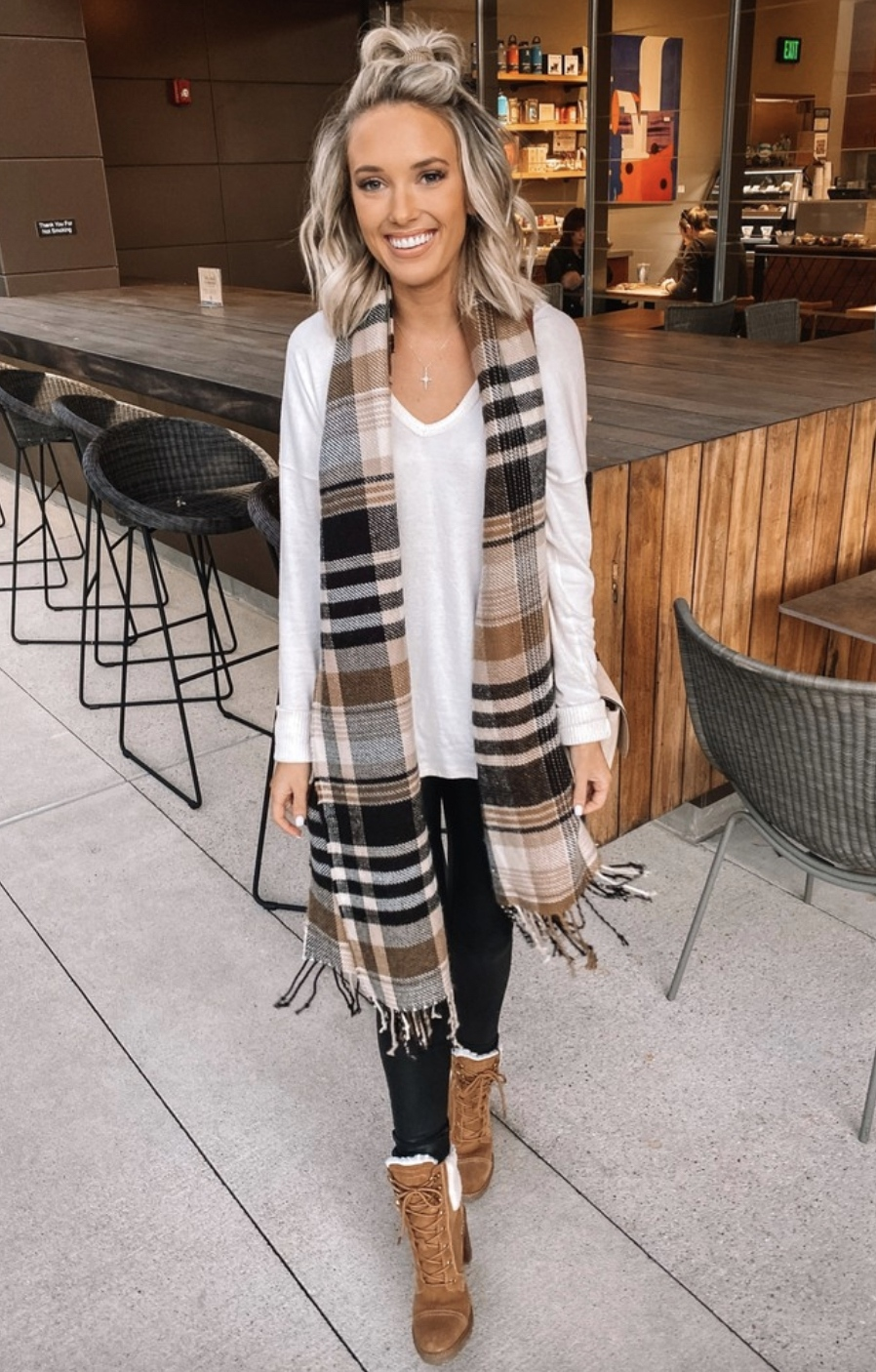 Casual outfits with leggings and plaid scarf