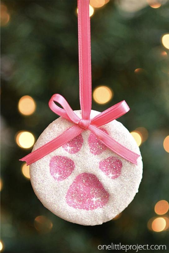 DIY Paw Print Salt Dough Christmas Ornaments