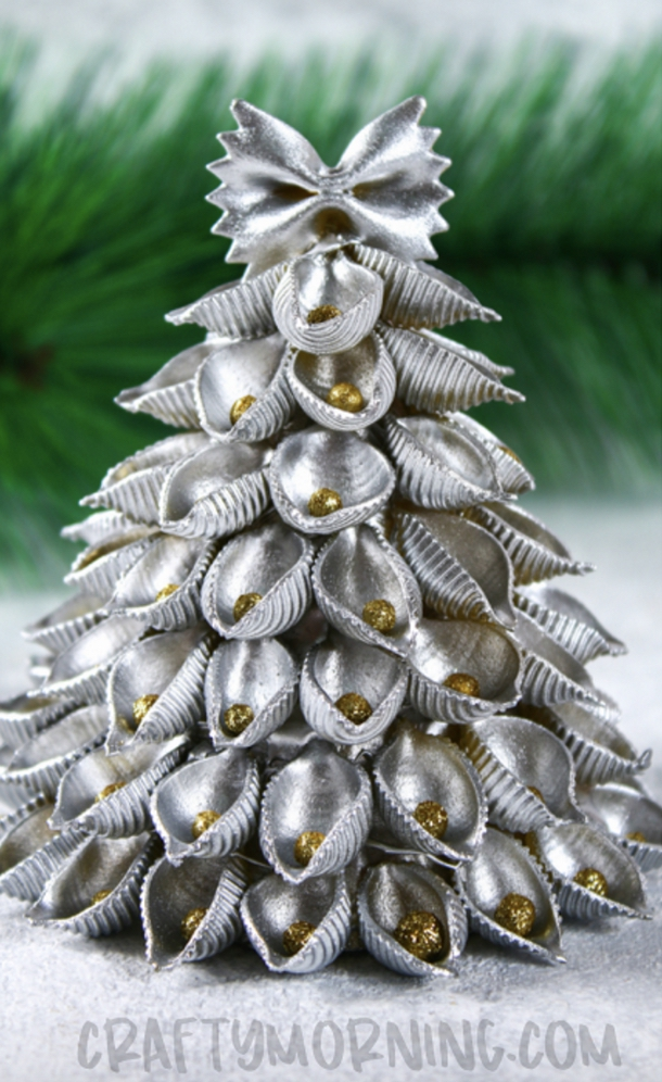 Easy DIY 3D Pasta Christmas Tree Craft For Adults