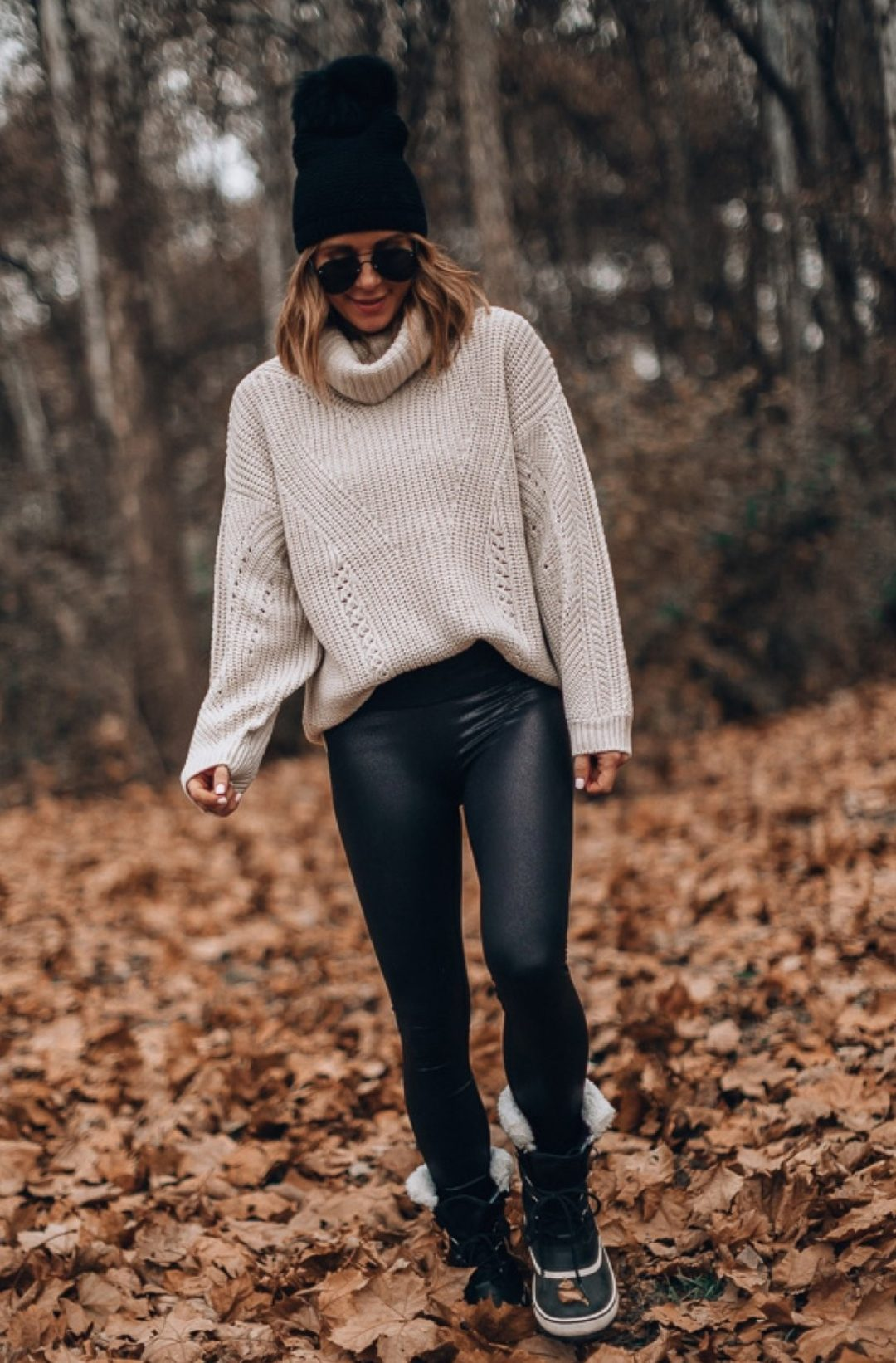 Sweater with leggings outfit for winter