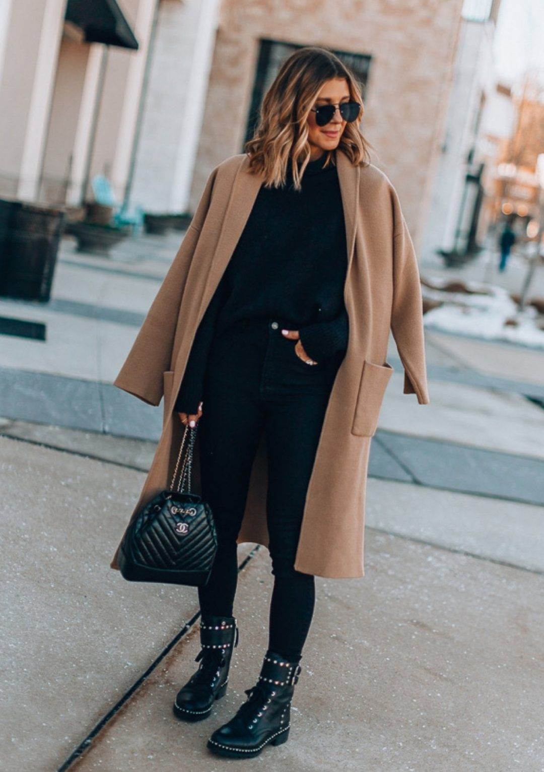Dressy leggings outfits with camel coat