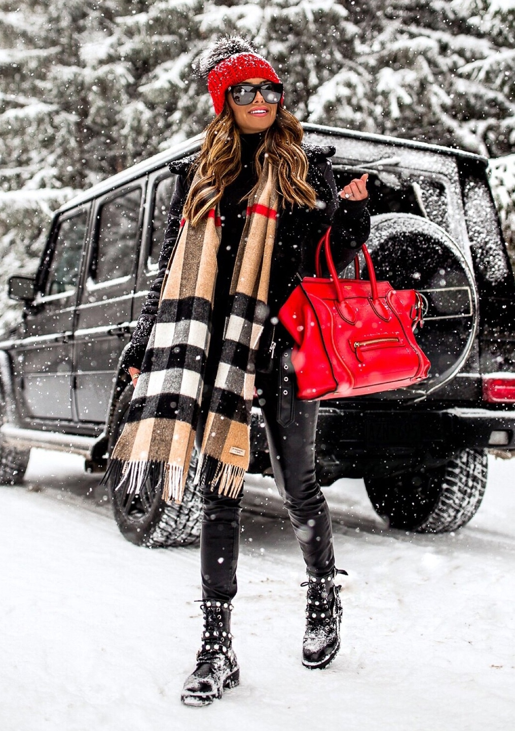 Winter outfits with black jeans, Burberry scarf and Celine luggage tote