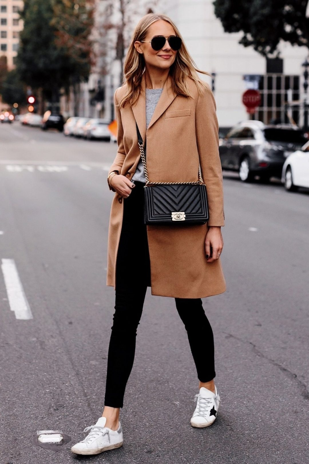Black leggings outfits for winter with camel coat