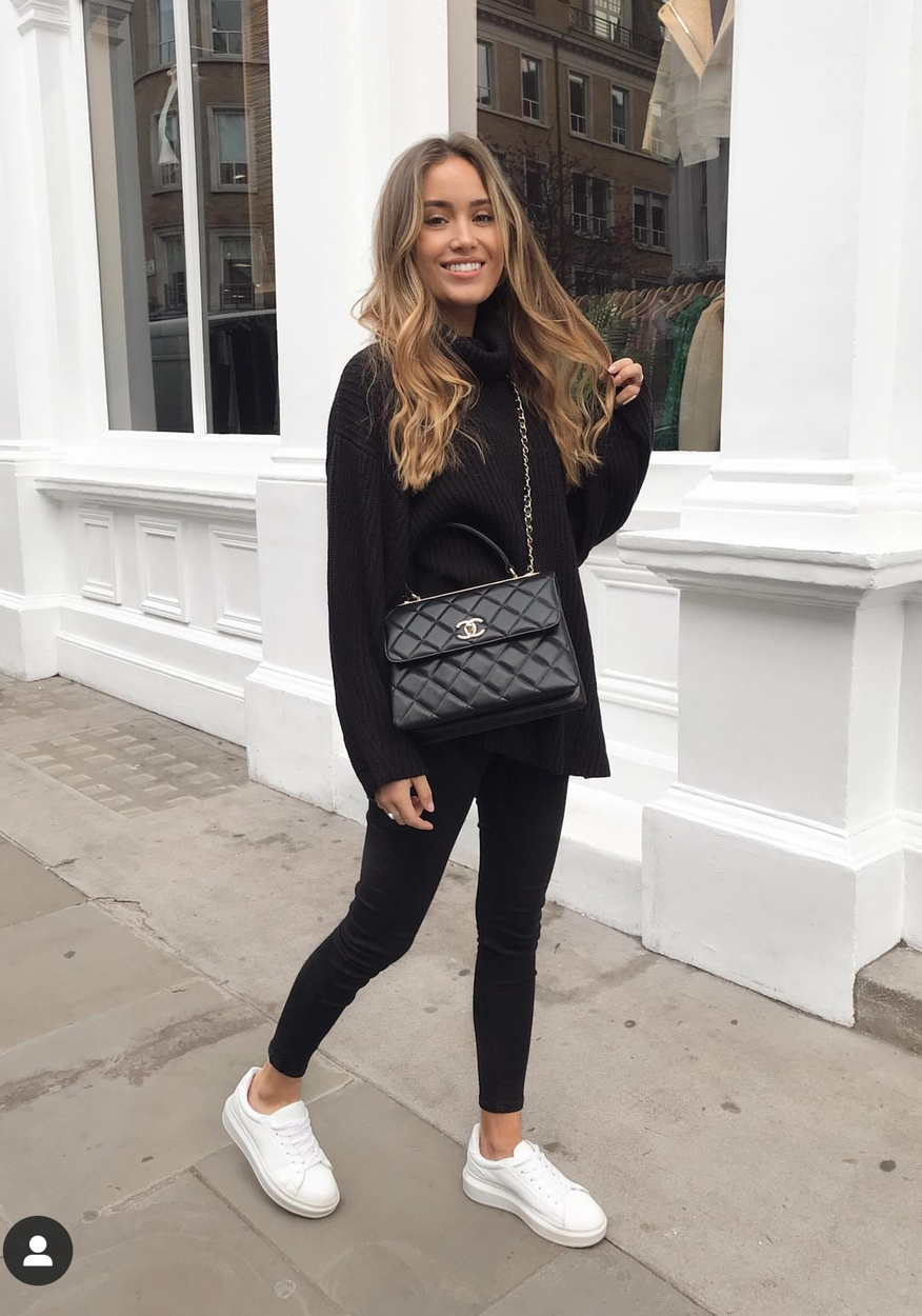 Black sweater outfits with black leggings - cute casual everyday outfits