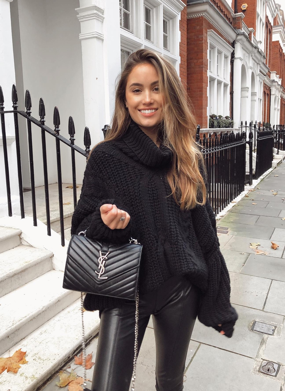 Cute black sweater outfits with leggings for fall