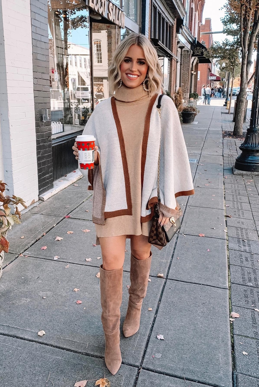 Poncho outfits for fall with boots
