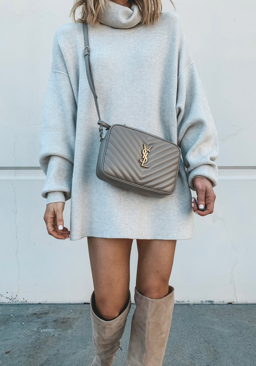 Cute sweater dress outfits with knee high boots