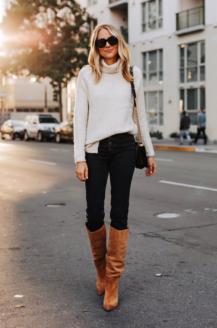 Cute sweater outfits with jeans and boots