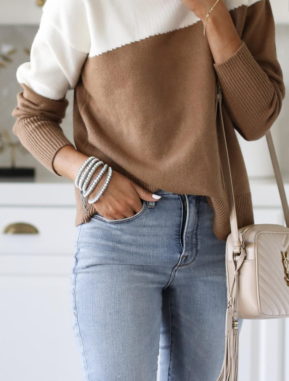 Cute sweater outfits with color block sweater