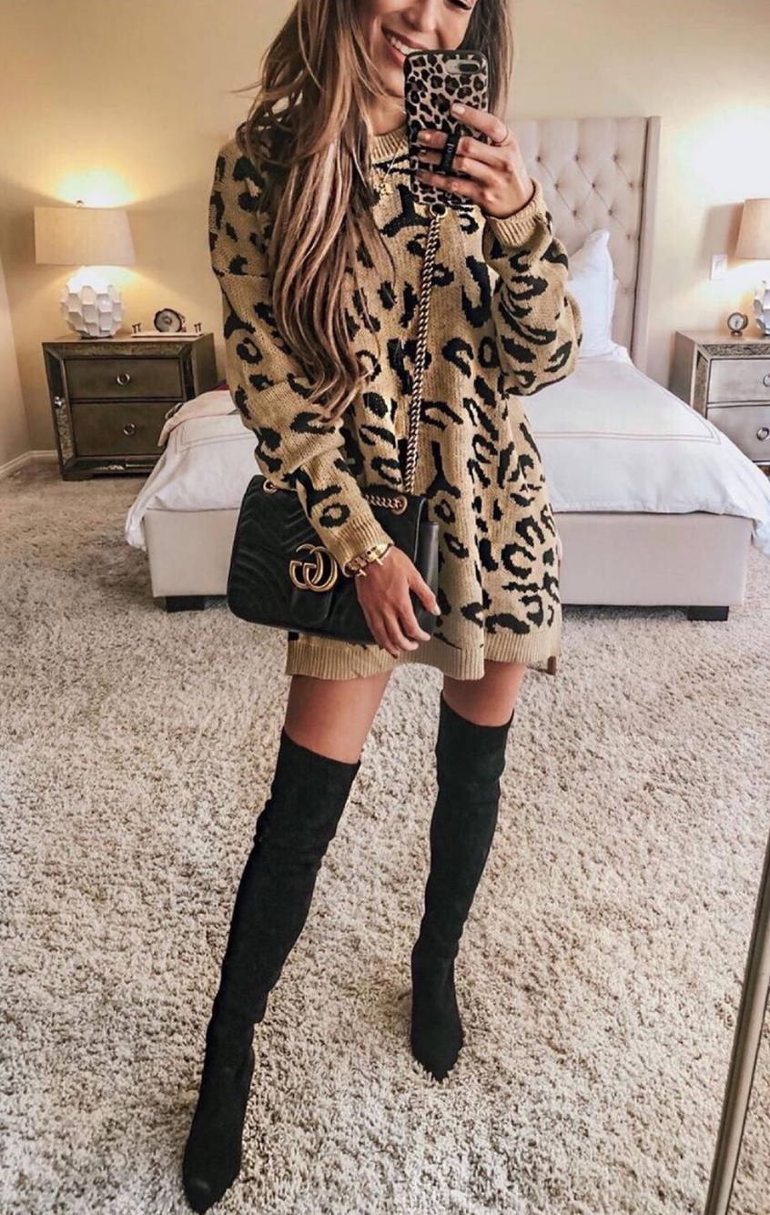 Animal print sweater dress outfits with black over the knee boots outfit and Gucci bag