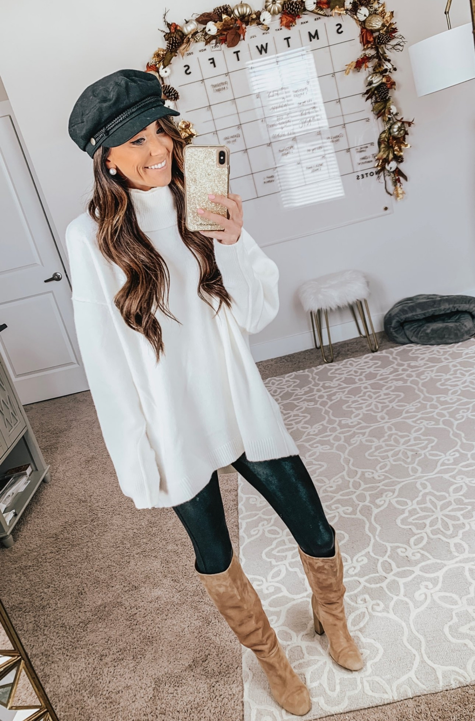Cute white sweater outfits with leggings and knee high boots outfits