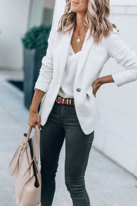 Chic business casual outfits - white blazer outfits