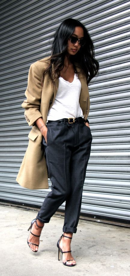 Chic work outfits with trench coat