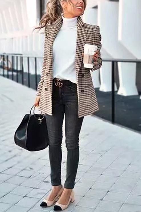 business casual outfits for women, work outfits for women and checked blazer outfits with Chanel slingback shoes