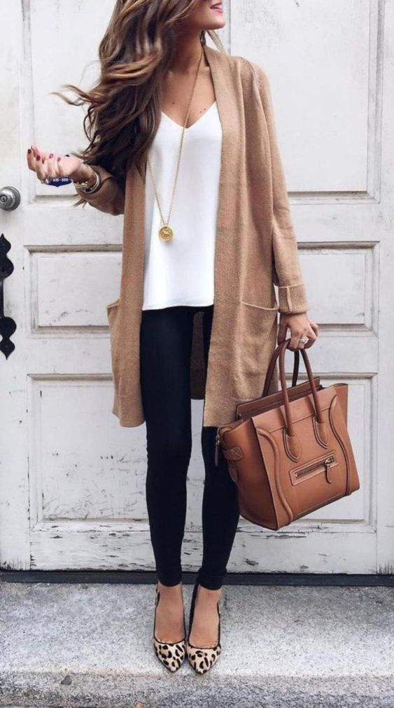 Chic business casual outfits with cardigan for work and tan Celine luggage tote