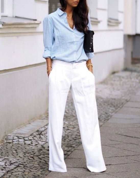 White pants work outfits and blue shirt