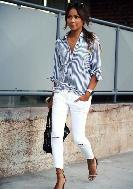 Summer work outfits for women with white jeans