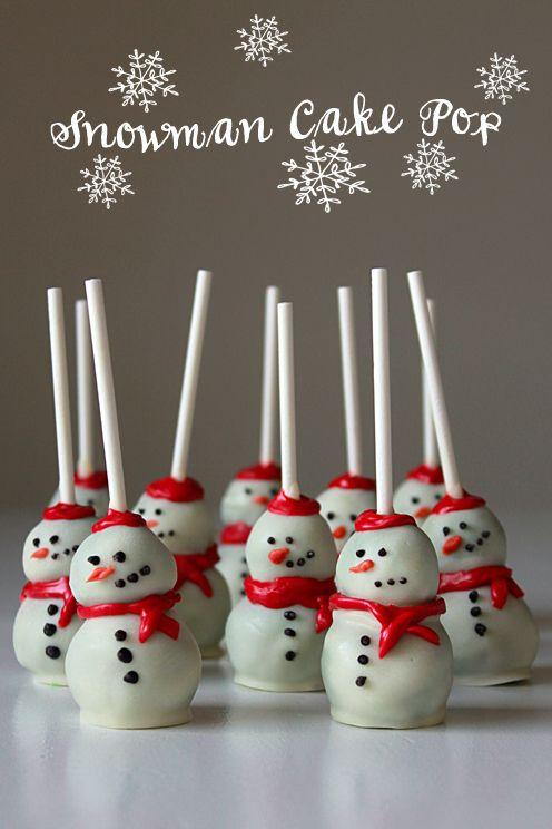 Christmas cake ideas: Snowman Cake Pops