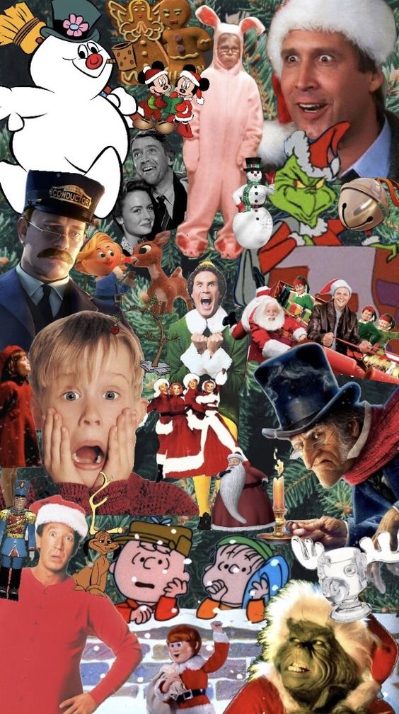 Aesthetic Christmas wallpaper collage with iconic Christmas movies like home alone and the Grinch