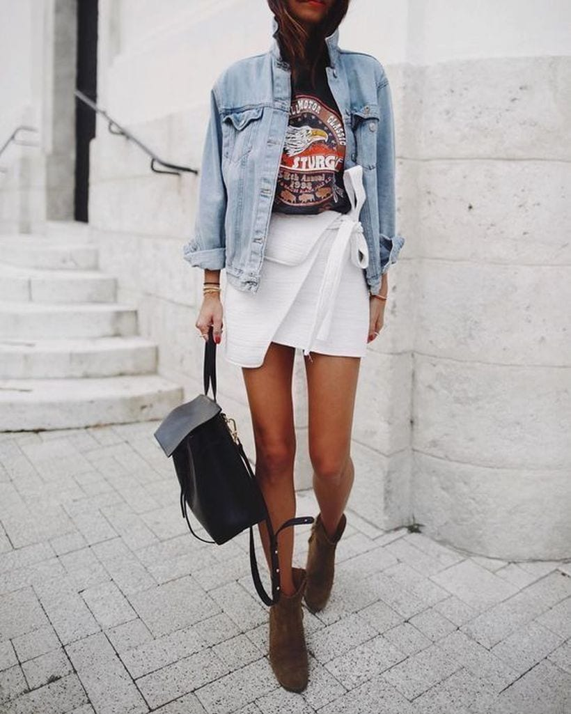 Cool outfits with skirts and denim jacket