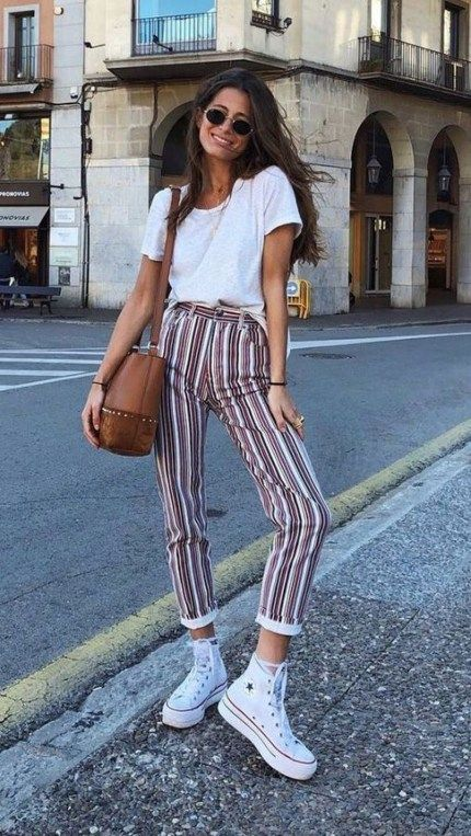 Striped pants outfit with white t shirt and converse