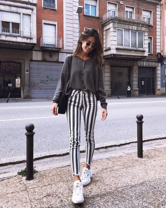 Striped pants outfit with sweater
