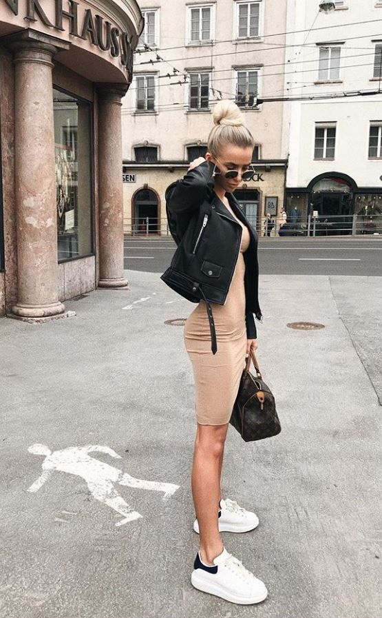 Black leather jacket outfits with casual dresses