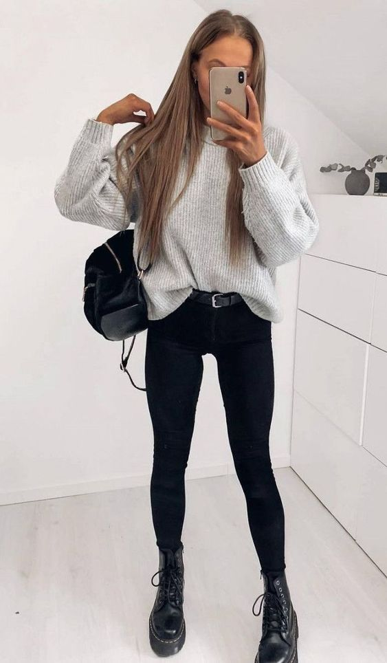 Cool outfits with doc martens, black jeans and sweater