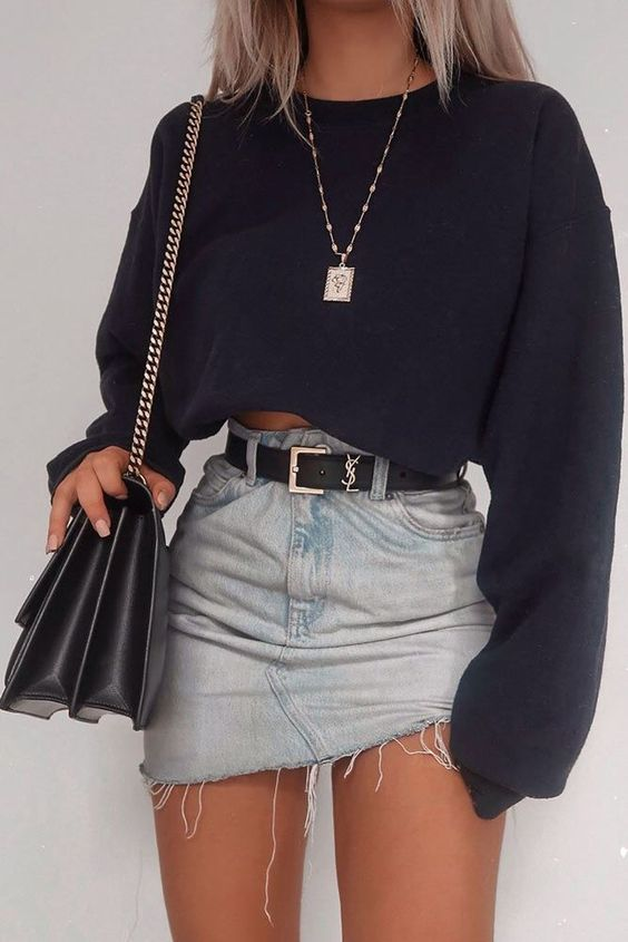 Cool outfits with skirts and cropped sweater