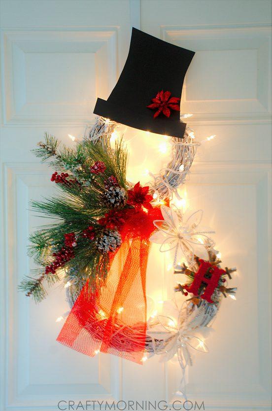 DIY Lighted Grapevine Snowman Wreath Christmas Craft