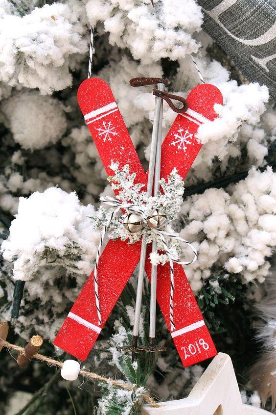 DIY popsicle stick skis Christmas ornaments
